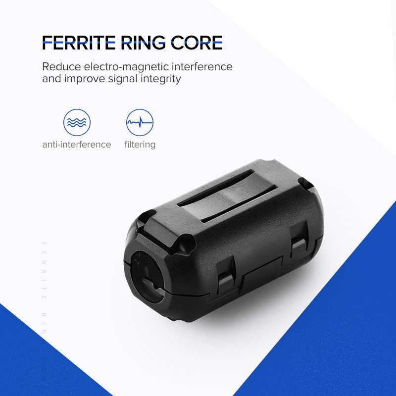 Ugreen ферритовый фильтр кольцо сердечник клип на RFI EMI Шумоподавитель кабельный зажим для 3 мм 5 мм 7 мм диаметр кабеля ферритовый фильтр