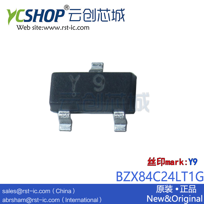 BZX84C24LT1G BZX84C24 Y9 SOT23-3 Zener Diodes 24V 250mW