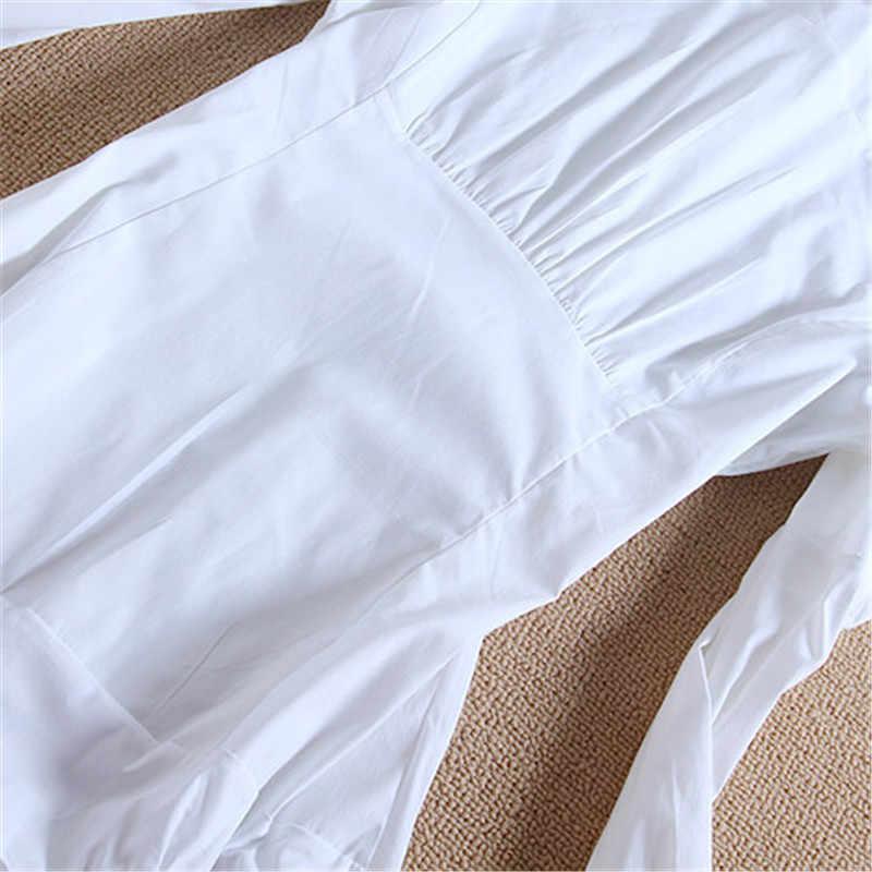Новое поступление Женская блузка с длинным рукавом Blusas Элегантные Топы Женская туника блузки Feminina однотонная блуза большого размера # B8