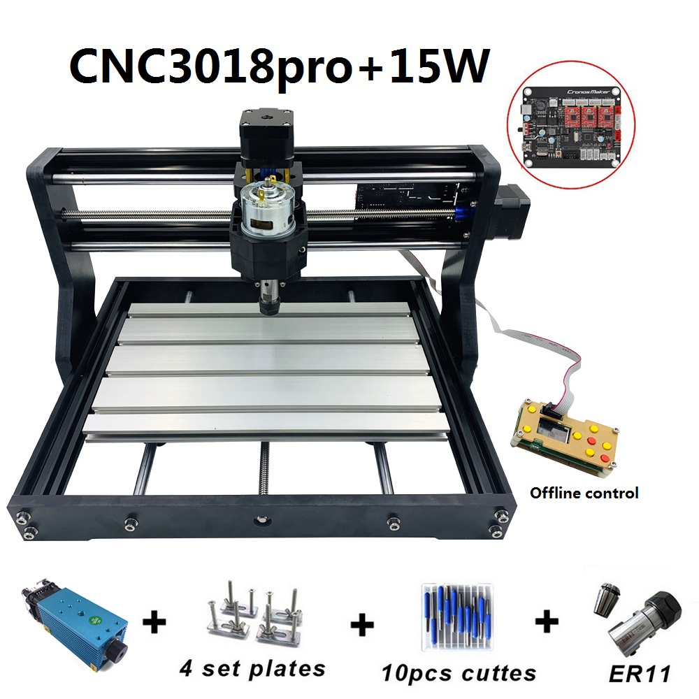 CNC3018 Pro 15W Engraving Machine ER11 With Offlineline Control 500mw 2500mw 5500mw Head Wood Router PCB Wood Carving Machine