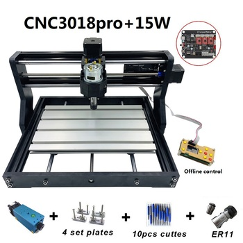 CNC3018 Pro 15W Engraving Machine ER11 with Offlineline Control 500mw 2500mw 5500mw Head Wood Router PCB Wood Carving Machine 15w engraving machine cnc3018 pro er11 with 500mw 2500mw 5500mw head wood router pcb milling machine wood carving machine diy
