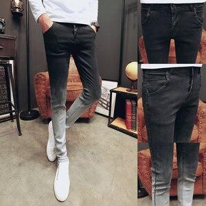Image 2 - Korean Summer Skinny Jeans Men Gradient Color Thin Men Jeans Streetwear Fashion Slim Fit Denim Pants Men Clothes 2020