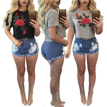 Camisetas Rushed Limited Cotton Tumblr Blusa 2017 New Arrival Summer Women's T-shirt Sweater Short-sleeved Tail Roses Ladies