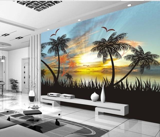 3d Papier Peint Pour Chambre Coucher Du Soleil Vue Sur La Mer Belle