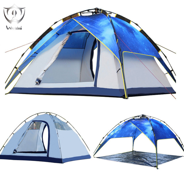 Wnnideo 3-4 Person Waterproof Pop-up Tent for Camping Hiking Traveling Portable Night Sky Characteristic