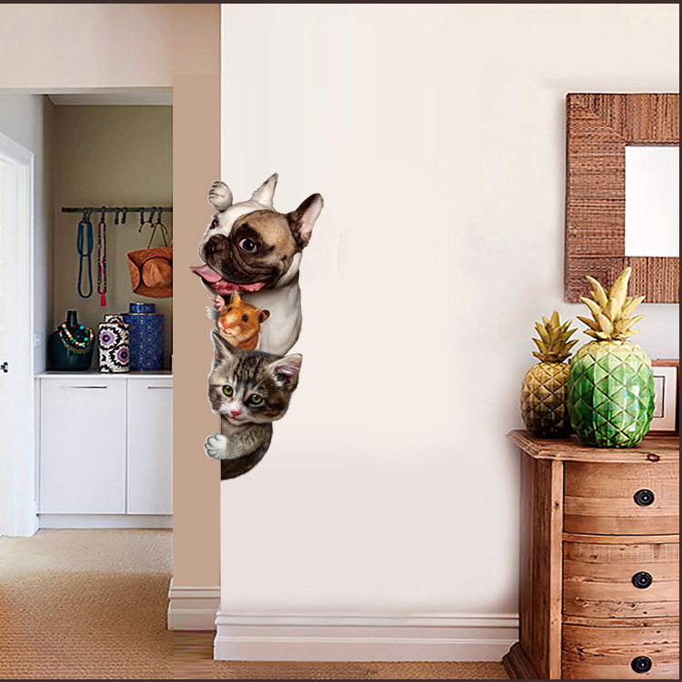 % Cute Funny 3D Animal Cat Dog Door Wall Stickers