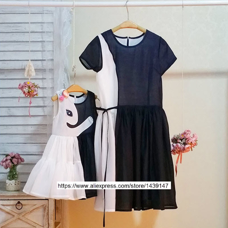 Children clothing Mother and Daughter dress Black and white rabbit 2Y-10Y Child baby Baby Girl infant lady Women Large size 4XL children clothing mother and daughter dress black and white rabbit 2y 10y child baby baby girl infant lady women large size 4xl