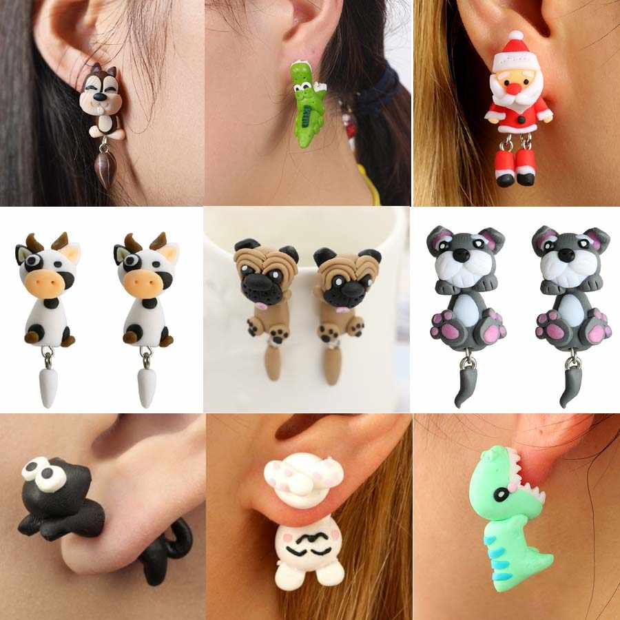 New 100% Handmade Polymer Clay Animal Earrings Cute Cat Fox Lovely Panda Squirrel Tiger Stud Earrings For Women Jewelry