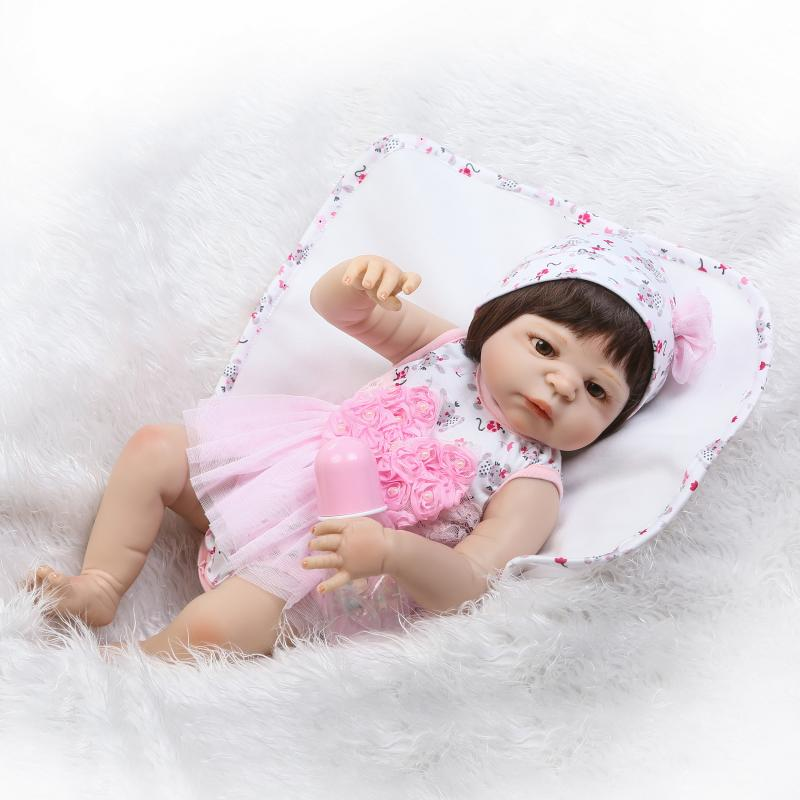 Nicery 22inch 55cm Magnetic Mouth Reborn Baby Doll Hard Silicone Lifelike Toy Gift for Children Christmas Pink Flowers High Wig nicery 18inch 45cm reborn baby doll magnetic mouth soft silicone lifelike girl toy gift for children christmas pink hat close