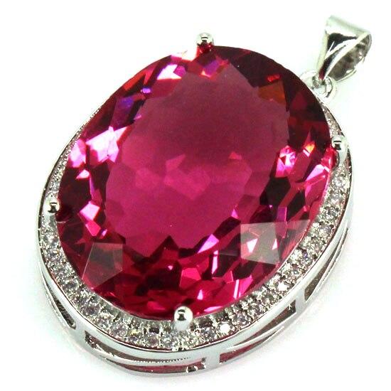 Longues grosses pierres précieuses 22x18mm Tourmaline rose, pendentif en argent de fiançailles femme blanc CZ 25x20mm