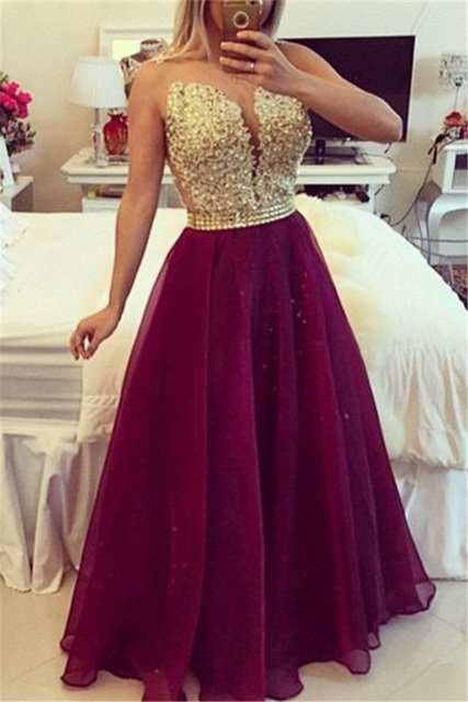 2017 Sheer Neck Burgundy Chiffon Lace Applique Backless Plus ...