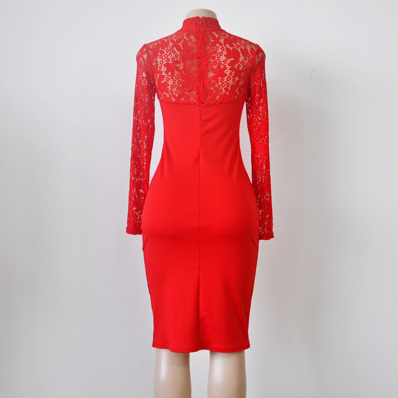 c8852fb9ddd Sexy Women Autumn Lace Dress New 2018 Winter Turtleneck Long Sleeve Red  Black Club Factory Bodycon Bandage Midi Party Dresses-in Dresses from  Women s ...