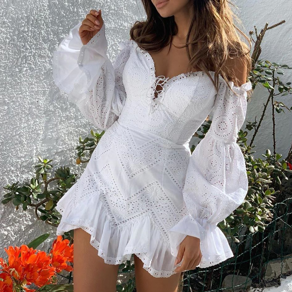 Yesexy 2020 Summer Sexy Off the Shoulder Long Lantern Sleeve Women Mini Dresses Bodycon Ruffles Backless Female Dresses VR19520