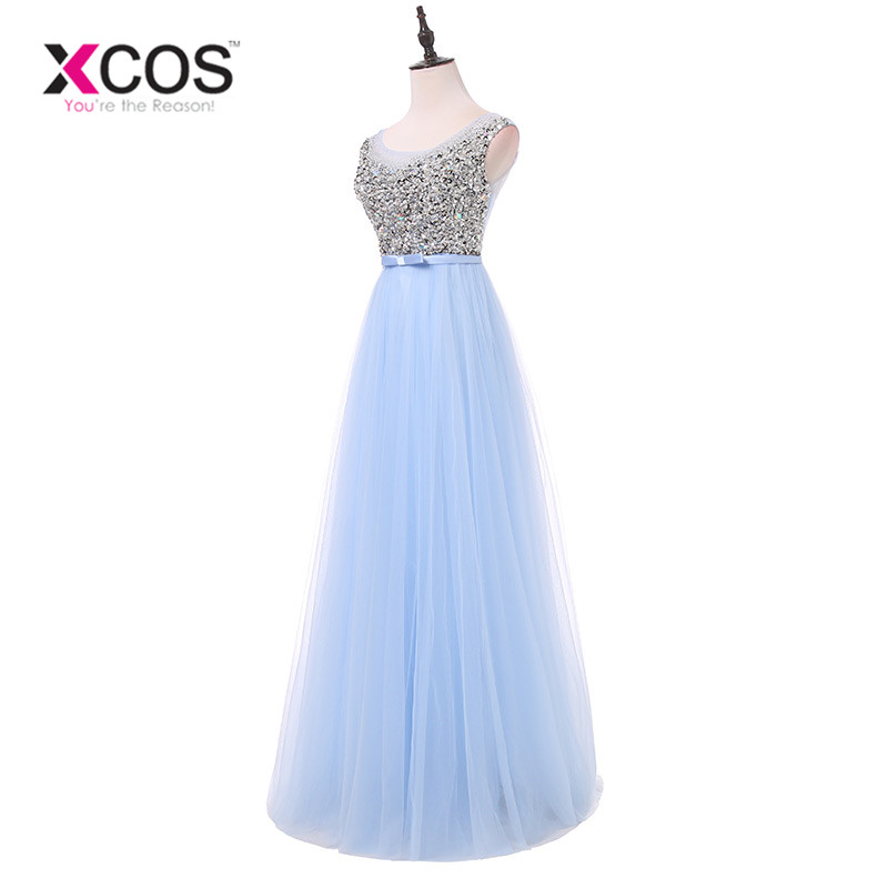 XCOS New Arrival Luxury Long Style Dresses Bling Beading Tulle Evening Dresses Prom Party Crystal Pearls Floor Length