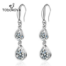 Todorova High Quality Water Drop Cubic Zircon Dangle Earrings for Women Bridal Wedding Accessories Jewelry Gift