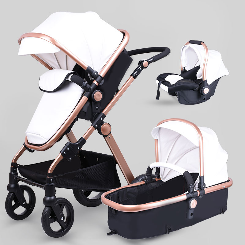 Babyfond leather baby strollers 3 in 1 high quality send car seat and independent baby bassinet orbit baby люлька колыбель orbit baby g3 bassinet