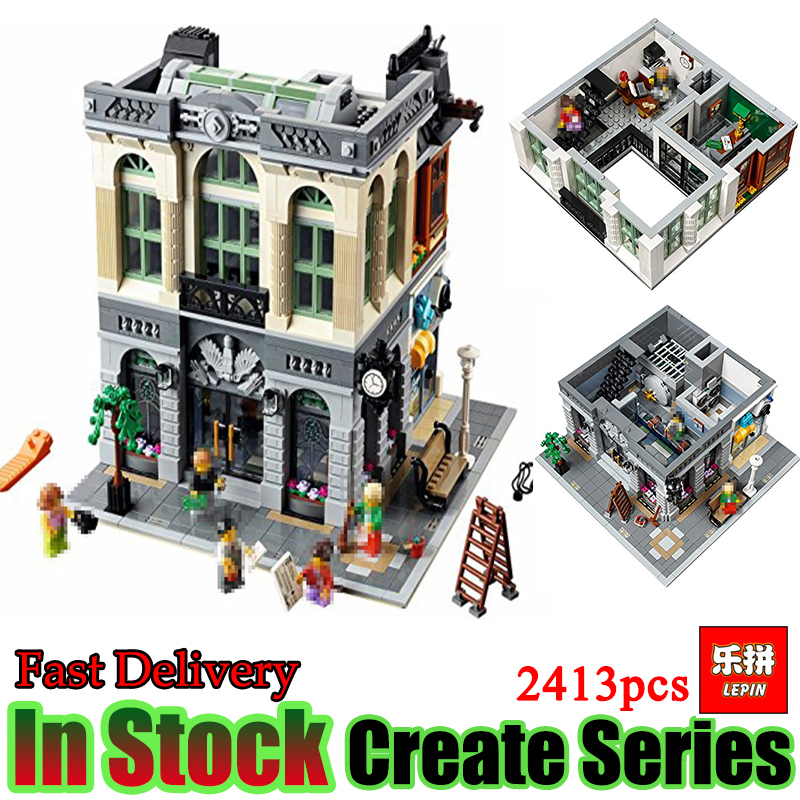 Lepin 15001 City Street View Series Creator Brick Bank Set Model Building Blocks Bricks Children Toys Christmas Gift with 10251 a toy a dream lepin 24027 city series 3 in 1 building series american style house villa building blocks 4956 brick toys