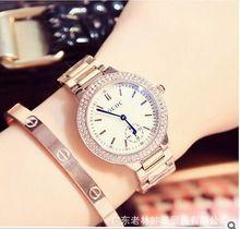 Luxurious Model Vogue Blue Dial Clock Rose gold Metal Band Feminine Diamond quartz Costume watch waterproof Reward Luxurious Wristwatches