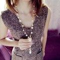 Largo Collar de flores para Las Mujeres Moda Joyería de La Perla Simulada Borla Coreana Perlas Collares Bijoux Femme Perle