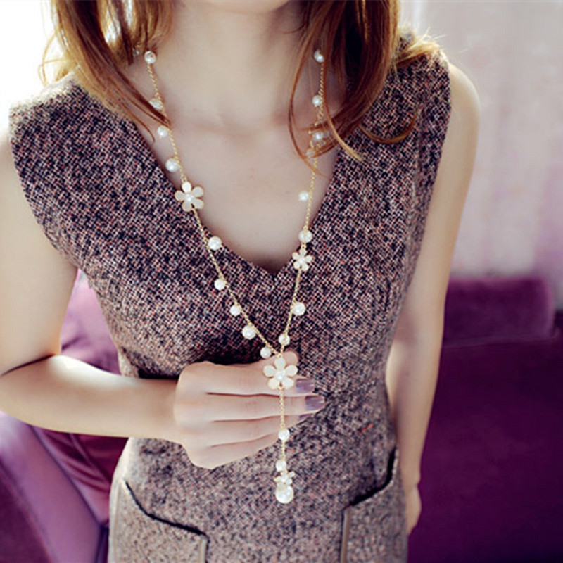 Ravimour цветок Длинные Цепочки и ожерелья для Для женщин мода имитация Ювелирные изделия из жемчуга кисточкой Perlas Ожерелья и подвески Bijoux Femme Perle