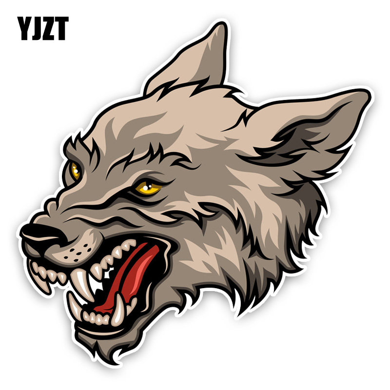 YJZT 14.5*14.1CM Interesting Aggressive Cartoon Lovely Wolf Head Colored PVC Car Sticker Decoration C1-5438