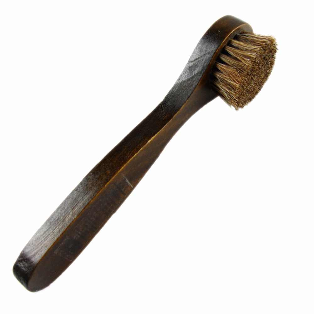 1Pc  Care Bristle Horse Hair Brush Long Wood Handle Shoes Boot Polish Buffing Brush 17*2CM