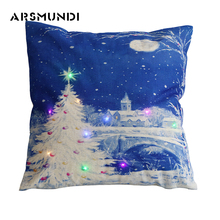 Simple LED Christmas Cushion Cover Santa Claus & Reindeer Printed Linen Style Pattern Decorative Cushion Covers for Home 45x45cm santa claus reindeer printed christmas tapestry