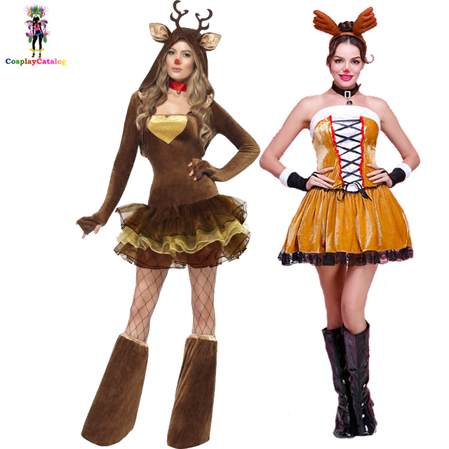 8d53cf1c5ca US $22.76 |Furry Xmas Reindeer Woman Costume with Brown Tutu Christmas  Adult Sexy Women Party Elk Costumes Female Animal Fancy Dresses-in Sexy ...