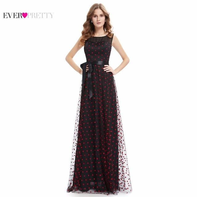 Elegant Prom Dress Ever Pretty New Arrival 2016 HE08753BK Women Elegant Round Neck Plus Size Long Prom Dress Lace