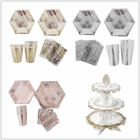 40 шт. розовая пластина розового золота бумажная чашка салфетка соломенная одноразовая посуда наборы Свадебные украшения для дня рождения сувениры