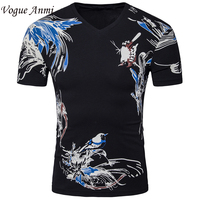 Vogue Anmi New Men S V Neck T Shirt 2017 Summer Fashion Solid Short Sleeve T