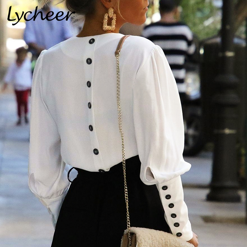 Lycheer White women   blouse     shirt   tops Puff sleeve button   blouses   Autumn spring office lady   shirt   female work wear   blouse   top