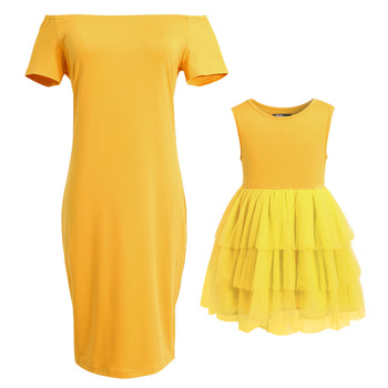 Mommy And Me Family Look Matching Dress Off Shoulder Mom Dresses And Baby Daughter Mesh Sleeveless Dress Mother Girl Outfits 1