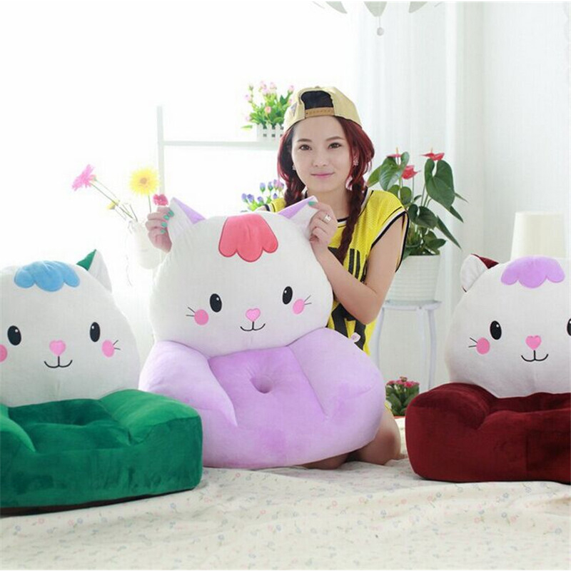 fancytrader plush cat children's sofa toy big face animal cat green pink red soft chair cushion for child 1pcs 52 26cm creative novelty item funny women big mouth shape cushion pink red lip plush toy throw pillow for couch pregnancy
