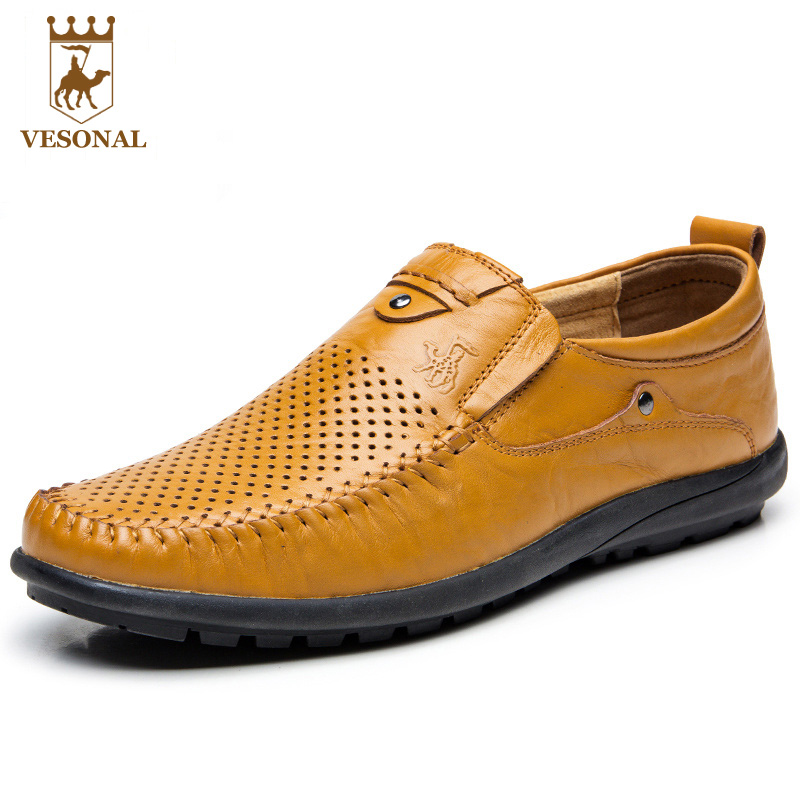 VESONAL Brand Casual Shoes Men Loafers Adult 2017 Spring Summer Breathable Mocassin Male Ons Boat Genuine Leather Man Walking vesonal summer 100