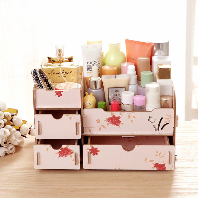Modern Wooden Cosmetic Organizer Colorful Diy Makeup For Stationery Jewelry Drawer Rectangle Storage Box