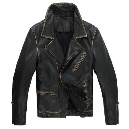 Chaqueta de cuero de los hombres Streetwear Negro Da Vuelta-abajo delgado ropa de Cuero de La Motocicleta chaqueta de Cuero Genuino para Hombre WZS001