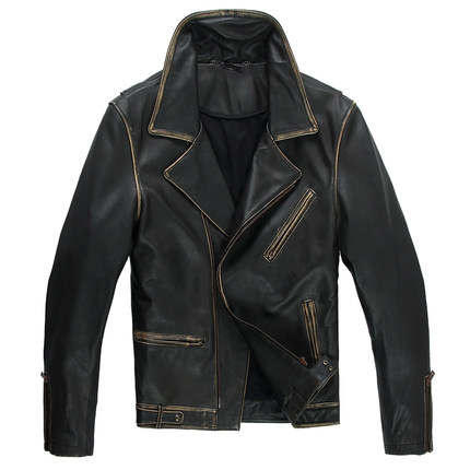 Leather jacket men  Black Streetwear Turn-down Collar slim Leather jacket Genuine Leather Motorcycle clothing for Man WZS001