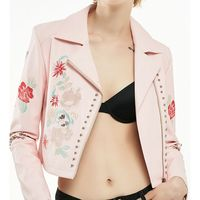 Pink Embroidery Flower Rivet Jacket Short Design Slim Coat 2017 Spring Autumn Zipper Motorcycle Street Outwear