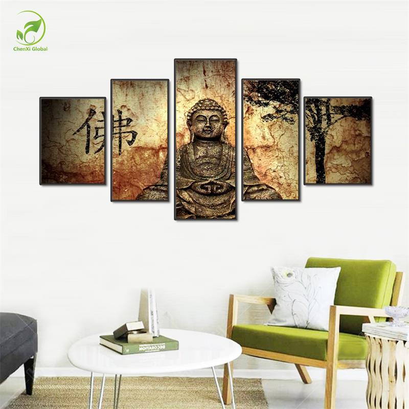 Buddhist Wall Art online get cheap 5pcs buddha wall art -aliexpress   alibaba group