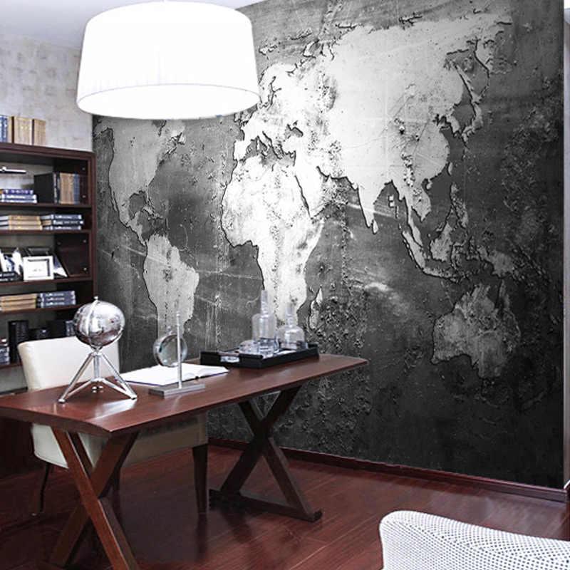 Tapety ścienne na zamówienie Retro mapa świata w stylu tapety pokrywającym ściany badania salon Sofa TV tło tapety wystrój domu