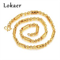 Lokaer New Gold Color Chains Necklace For Men Accessories Prayer Beads Necklace Fashion Copper Thick Style