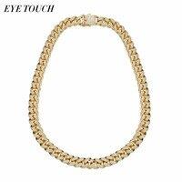 EYE TOUCH 20 Inch Gold Color Men Necklace Pendant Luxury Fashion Australian Rhinestone Retro Metal Gift