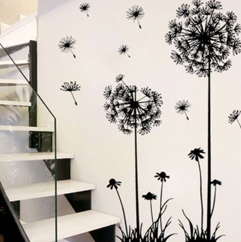 Hot Black Dandelion Sitting Room Bedroom Wall Stickers Household Adornment Wall Stickers On The Wall