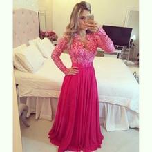 Elegant Long 3/4 Sleeve Sheer Lace Rhinestone V-neck Evening Gown 2014 Wedding Party Dresses Celebrity Custom made