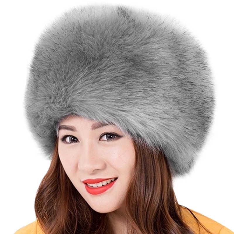 e699167fca4 ... 2018 Winter Thick Fluffy Fur Hat Womens Russian Caps Women Super Warm  Soft Faux Fur Hat ...