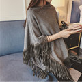 FANTFUR Womens Autumn Cape Ladies Batwing Sweater Poncho Triangle Turtleneck Pullovers Tassel Knitted Shawl Pull Femme Sweter