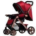 Aluminium Frame Baby Strollers Lightweight Foldable Four Wheels Single Seat Lying Sleeping Baby Carriage Pushchair Pram