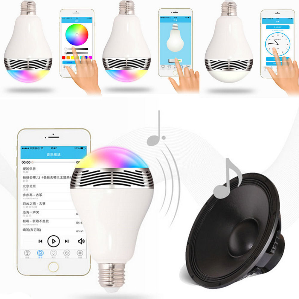 2016 New Arrival E27 6W RGB LED Bluetooth Control Smart Music Audio Speaker LED RGB Color Bulb Light Lamps