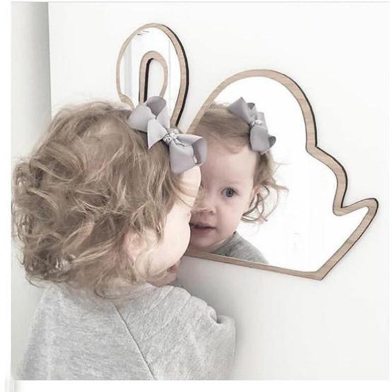 Детское украшение для спальни, небьющееся акриловое зеркало, настенная Корона кролика, сердце, Бабочка, облако, сад, настенное зеркало, художественный Декор|Декоративные зеркала|Дом и сад - AliExpress